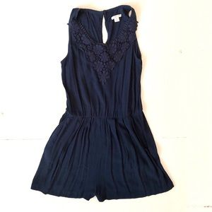 Target Xhiliration Navy Embroidered Romper